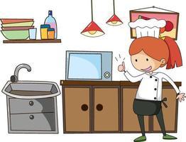 kleiner Koch mit Küchenausstattung auf weißem Hintergrund vektor