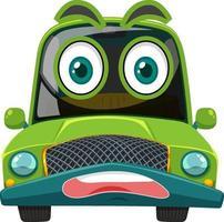 grön vintage bil seriefigur med ansiktsuttryck på vit bakgrund
