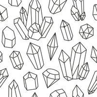 Diamant-Gekritzel-Vektormuster. nahtloser modischer trendiger Hintergrund. handgezeichnete Edelsteine, Diamanten