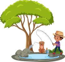 isolerad scen med ung man som fiskar vid dammen