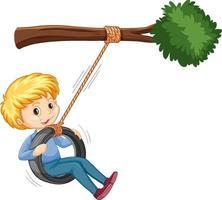 Junge, der Reifenschaukel unter dem Zweig auf weißem Hintergrund spielt