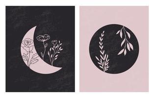 uppsättning blommor i månens kontinuerliga konturteckningar. abstrakt samtida collage av geometriska former i modern trendig stil. vektor för skönhetskoncept, t-shirt tryck, vykort, affisch