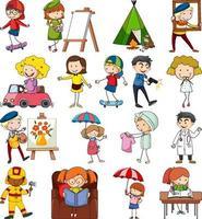 Satz verschiedene Gekritzelkinder Zeichentrickfigur isoliert