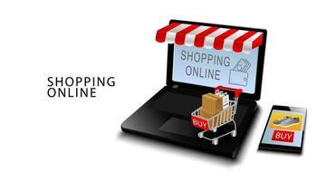 Online-Einkaufskonzept, Smartphone und Laptop mit Kreditkarten, Produkte auf Wagen mit lokalisiertem weißem Hintergrund vektor