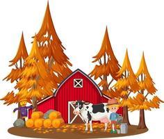 bondehus med en bonde och husdjur på vit bakgrund