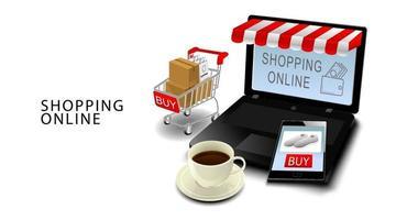 Online-Einkaufskonzept, Smartphone und Laptop mit Kreditkarten, Produkte auf Wagen mit lokalisiertem weißem Hintergrund