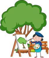 kleiner Künstler, der ein Baumbild lokalisiert auf weißem Hintergrund zeichnet vektor