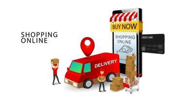Online-Shopping-Konzept, Service-Team-Zusteller, Smartphone und Kreditkarte, Produkte auf Warenkorb mit isoliertem weißem Hintergrund