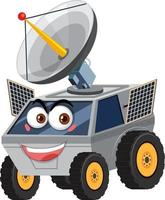 Raumfahrzeug-Zeichentrickfigur mit Gesichtsausdruck auf weißem Hintergrund