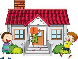 Viele Kinder machen verschiedene Aktivitäten rund ums Haus