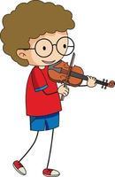 ein Gekritzelkind, das Geigen-Zeichentrickfigur isoliert spielt
