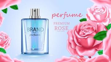 lyx kosmetisk flaska paket hudvård kräm, skönhet kosmetisk produkt affisch, med rosa ros och blå färg bakgrund vektor