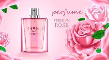 lyxig kosmetisk flaskpaket hudvårdskräm, skönhets kosmetisk produktaffisch, med ros och rosa färgbakgrund vektor