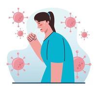 Frau hustet mit Coronavirus-Symptomen vektor