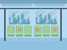 soziale Distanzierung innerhalb der öffentlichen Verkehrsmittel während der Coronavirus-Pandemie vektor