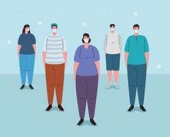 social distansering gjort på fel sätt med folk som trängs vektor