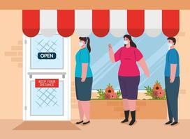 människor socialt distanserade för att komma in i butiken vektor