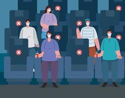 människor social distansering i den sociala teatern vektor