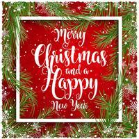 Weihnachten und Hintergrund des neuen Jahres mit Schneeflockengrenze vektor