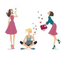 Karte von drei jungen Frauen, die in Herzen verliebt sind. Vektorillustration. vektor