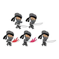 schwarzer Ninja-Angriffsspiel Sprites Template Illustration Set vektor