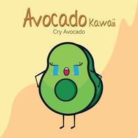 Avocado Kawaii, weinendes Gesicht Avocado vektor