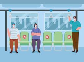 människor social distansering i kollektivtrafiken vektor