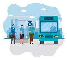 människor socialt distanserade för att komma in i bussen vektor