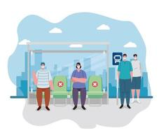 människor som socialt distanserar vid busshållplatsen vektor