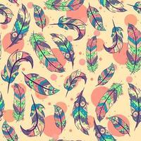 böhmisches nahtloses Muster mit Federn und lebenden Korallenkreisen. repetitiver aztekischer und boho-schicker Hintergrund mit bunten Elementen und indischen Motiven. vektor