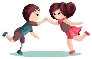 Vektorbild eines Mädchens, das mit einem Jungen tanzt, der überall prothetische Beine hat. Cartoon-Stil. vektor
