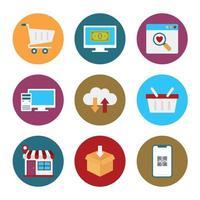 Einzelhandels- und E-Commerce-Symbole vektor