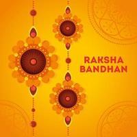 gratulationskort med dekorativ uppsättning rakhi för raksha bandhan vektor