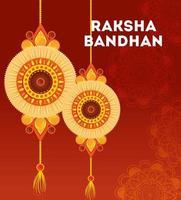 Grußkarte mit dekorativem Satz von Rakhi für Raksha Bandhan vektor