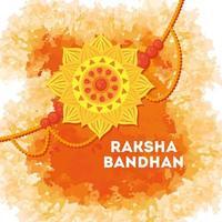 gratulationskort med dekorativ rakhi för raksha bandhan vektor