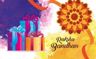 gratulationskort med dekorativ rakhi för raksha bandhan och presentaskar vektor