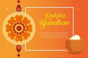Grußkarte mit dekorativem Rakhi für Raksha Bandhan und Pulver vektor