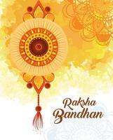 Grußkarte mit dekorativem Rakhi für Raksha Bandhan vektor