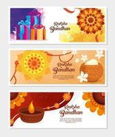 Satz Grußkarten für Raksha Bandhan Feier vektor