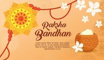 gratulationskort med dekorativt rakhi för raksha bandhan och pulver vektor