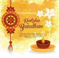 Grußkarte mit dekorativem Rakhi für Raksha Bandhan und Kerze vektor