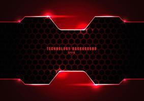 abstrakt svart och röd metallisk ram med belysning på hexagoner textur mönster teknik innovation koncept bakgrund. vektor