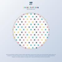abstraktes Kreuzmuster bunt auf weißem Hintergrund mit Kreisrahmen. geometrische Memphis plus Zeichen. vektor