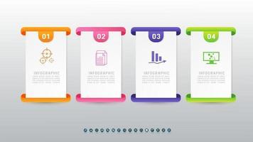 Infografik-Vorlage für Präsentationsgeschäfte mit 4 Optionen und Marketing-Symbol-Design. vektor