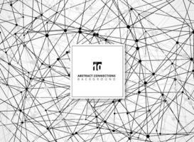 abstrakt svart och grå trådram linjer geometriska anslutningar med noder på vit bakgrund teknik stil. vektor