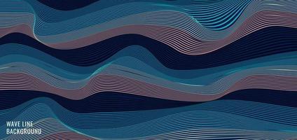 abstrakt randig vågiga blå våglinjer mönster bakgrund och textur vektor