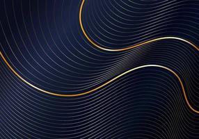 abstrakte glänzende Goldwelle gekrümmte Linienmuster auf dunkelblauem Hintergrund Luxusstil vektor
