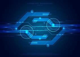 Futuristischer geometrischer Kreis des abstrakten Schablonentechnologie-digitalen Innovations-blauen Hintergrunds. Hi-Tech-Kommunikation