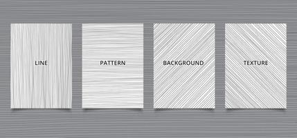 uppsättning broschyrmall handritade svarta linjer ränder vertikala, horisontella, diagonala på vit bakgrund och konsistens. vektor