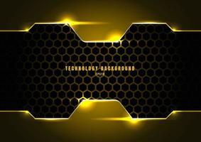 abstrakt svart och gul metallisk ram med belysning på hexagons textur mönster teknik innovation koncept bakgrund. vektor